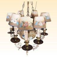 Custom Hand-Painted Porcelain & Bronze Chandelier