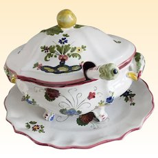 Italian Ceramic Faience Soup Tureen, Platter and Ladle Set