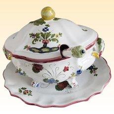 Italian Ceramic Faience Soup Tureen, Platter and Ladle Set