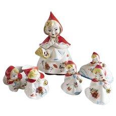 Rare Little Red Riding Hood Cookie Jar Six Piece Set