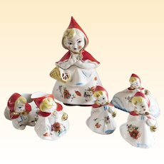 Rare Little Red Riding Hood Cookie Jar Six Piece Set
