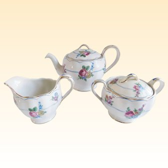 Mid Century Grindley England Teapot, Sugar and Creamer Set