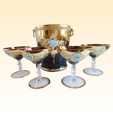 Vintage Amethyst Bohemian Glass Ice Bucket and Champagne Coupes - Set of 4