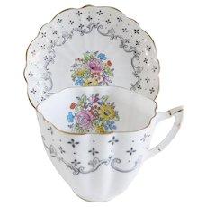Charming Victoria England Porcelain Tea Cup and Saucer Set