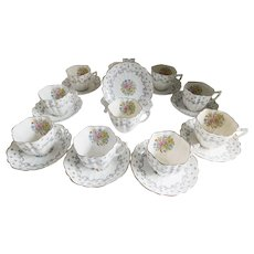 Victoria England Porcelain Tea Cup and Saucer Set - Set of 10