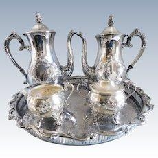 Gorgeous Mid Century Silver Plate Coffee & Tea Set - Set of Five
