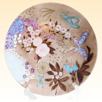 Vintage Swedish Signed Hand-Painted Floral Porcelain Plate