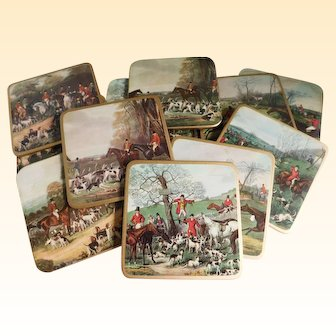 Mid Century Equestrian Hunt Scene Coasters - Set of 12