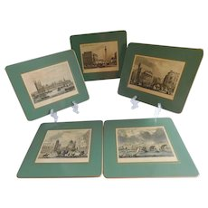 Mid Century Scenic London Placemats/Hanging Plaques - Set of Five