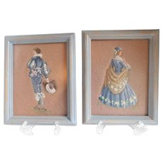 Charming Vintage Petit Point Framed Couple - A Pair