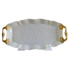 Cream and Gold Leaf Vintage Lenox Dresser/Serving Tray