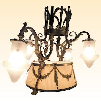 French Antique Bronze Four Arm Chandelier with Silk Pleated Shade