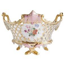 Beautiful Pink & Gold Floral Porcelain Footed Basket