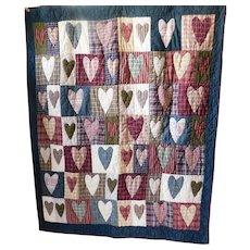 Adorable Vintage Patchwork Heart Quilt
