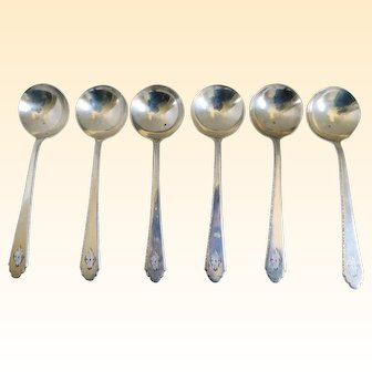Fabulous Lunt Treasure Sterling Berry Spoons Ptd. 1921 - Set of Six