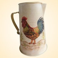 Vintage Hand-Painted Farmhouse Rooster Pitcher