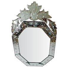 Fabulous Italian Venetian Octagonal Glass Vintage Mirror