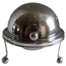 Mid-Century Silverplate Cigarette Globe - Made in England