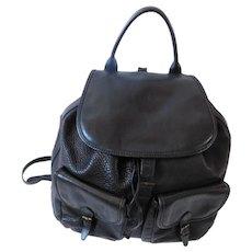 Italian CW Marianelli Large Black Leather Vintage Backpack