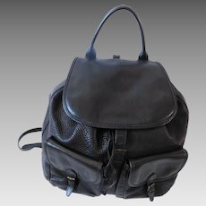 Italian CW Marianelli Large Black Leather Vintage Backpack