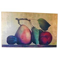 Vintage Oversized Acrylic Fruit Art Still Life