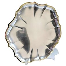 International Silver Vintage Cocktail Tray W/Gold Rim