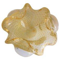 Murano Glass Gold & Clear Decorative Bowl
