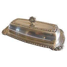Mid Century Silver Plate Covered Butter Dish