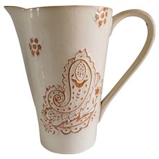 Glazed Cream Terracotta Vintage Drink Pitcher