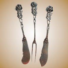 Sterling Rose Appetizer Knives & Two-Prong Fork