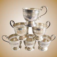 Sterling Vintage Demi Tasse Cup Holders - Set of Six