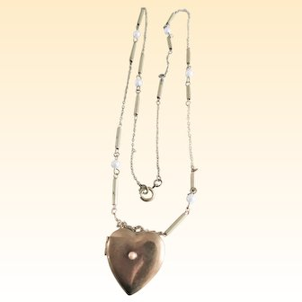 Vintage Heart Locket on Pearl Link Chain