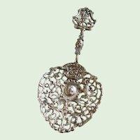 Antique Dutch Pierced Sterling Silver Sugar Sifter