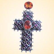 Nicky Butler Handmade 925 Sterling Gemstone Cross Pendant