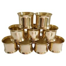Solid Brass Mid Century Napkin Rings - Set of 12