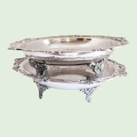19th C. Silverplate Footed Serving Bowls - A Pair