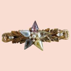 Vintage Semi-Precious Brass & Pearl Barrette