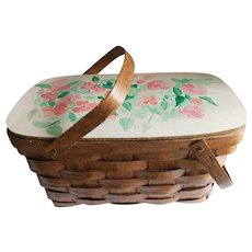 Hand-Painted Vintage Woven Oak Picnic Basket