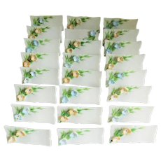 White Floral Porcelain Vintage Place Cards - Set of 24