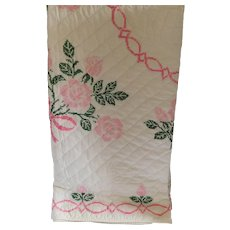 Antique Hand-Embroidered American Farmhouse Style Quilt