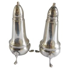 Crown Sterling 1930s Footed Salt & Pepper Shakers