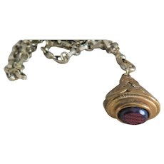 Vintage Brass Watch Fob on Chain w/ Red Oval Stone