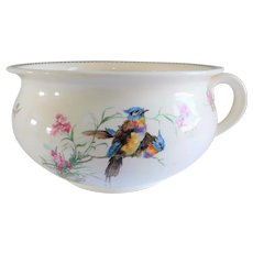 Antique Ceramic Chamber Pot/Planter With Birds and Flowers