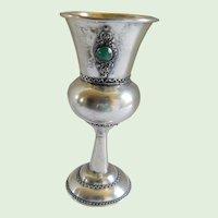 Sterling Wine Kiddish Cup W/ Semi Precious Stones