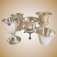 Five Fabulous Sterling Silver Antique Cups/Shots/Containers