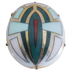 Art Deco 1920's Hand-Painted Porcelain Brooch Pin