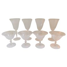 Set 1920's Etched Crystal Wine Glasses and Champagne Coupes - Set of 4