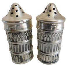 Sterling Over Glass Hallmarked Salt & Pepper Shakers - a Pair