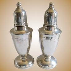 Mid-Century Molte Sterling Etched Weighted Salt & Pepper Shakers - A Pair