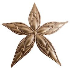 Vintage Brass Star Leaf Brooch Pin